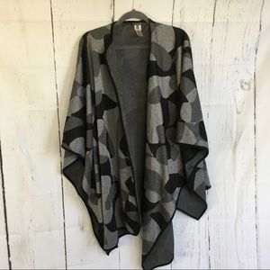 Vince Camuto Black and Gray Poncho Wrap.